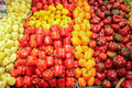 Capsicum green colorated in bulk basket store Stock Images