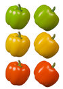 Capsicum green yellow red beautiful cutouts Royalty Free Stock Photography