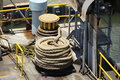 Capstan and coiled rope on a dry dock in mobile alabama Royalty Free Stock Photo