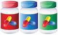 Capsules inside the medical bottles illustration of on a white background Royalty Free Stock Image
