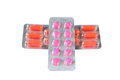 Capsules packed in blister isolated Stock Image