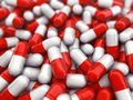Capsules red and white shallow depth of field Stock Photography