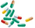 Capsules vector background with many green pharmaceutical Royalty Free Stock Images