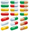 Capsules vector set of many color pharmaceutical Stock Images