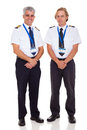 Captain first officer cheerful senior airline and on white background Royalty Free Stock Photos