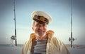 Captain happy sailor man on fishing boat background Royalty Free Stock Photo