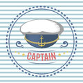 Captain hat nautical and marine sailing themed label vector.