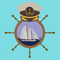 Captain hat on the wheel with boat and sea. Vector illustration