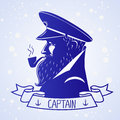 Captain illustration silhouette portrait character of the ships Royalty Free Stock Photo