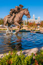 Captain jack herald of liberty monument pool in autumn Royalty Free Stock Photo