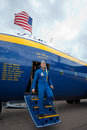 Captain John Hecker walks off Fat Albert Royalty Free Stock Photo