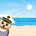 Captain owl vector illustration on the tropical beach Stock Images