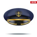 Captain peaked cap with gold anchor on cockade Royalty Free Stock Photo
