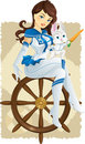 Captain rabbit sailing Royalty Free Stock Images