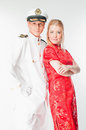The captain and the woman marine a Stock Photography