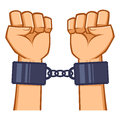 Captured Hands Chained With Handcuff Royalty Free Stock Photo