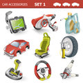 Car accessories detailed illustration of a three dimensional set Stock Image