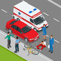 Car accident. Car crash. Flat 3d vector isometric illustration. Royalty Free Stock Photo