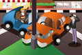 Car accident in the city a vector illustration of Royalty Free Stock Photography