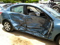 Car accident closeup of a that was badly damaged in a sideswipe Royalty Free Stock Photography