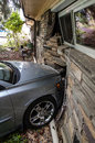 Car Accident into house Royalty Free Stock Images