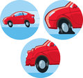 Car accident icon different icons of a flat tire and Royalty Free Stock Photo