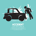 Car accident knocked down a man vector illustration Royalty Free Stock Photos