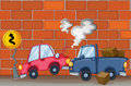 A car accident near the wall illustration of Stock Photo