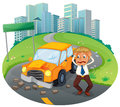 A car accident at the road near the high buildings illustration of on white background Royalty Free Stock Photography