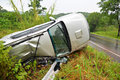 Car accident on the road slippery roads with rain Royalty Free Stock Photos