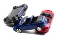 Car accident toy models representation of a traffic collision Stock Photos