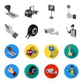 Car alarm, wheel rim, security camera, parking assistant. Parking zone set collection icons in monochrome,flat style