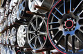 Car alloy wheel in store. Stock Photography