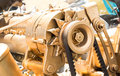 Car alternator converting mechanical energy to electrical energ inside a Royalty Free Stock Photo