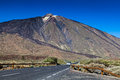 Car approaching to teide volcano tenerife canary islands spain Stock Image