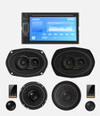 Car audio with speakers. Royalty Free Stock Photo