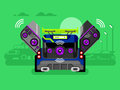 Car audio system music automobile sound technology stereo power speaker flat vector illustration Royalty Free Stock Image