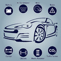 Car Auto Service Abstract Lines. Design elements with mechanical parts icons. Vector illustration