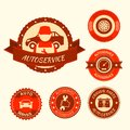 Car auto service set labels badges emblems vector illustration Royalty Free Stock Images