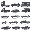Car automobile types black vector icons isolated on white