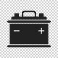 Car battery flat icon on background. Auto accumu