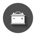 Car battery flat vector icon.