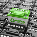 Car battery recycling. Green energy. Background from accumulator Royalty Free Stock Photo