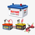 Car battery set. Jumper cable - illustration