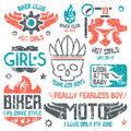 Car and biker masculine badges graphic design elements with shabby texture for t shirt color print on white background Royalty Free Stock Photography
