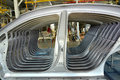 Car body sidewalls in welding shop of the automobile enterprise Royalty Free Stock Photo