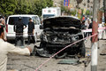Car bombing targeting egypt s interior minister cairo th september one of the exploded cars belongs to the convoy after the Stock Photo