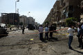 Car bombing targeting egypt s interior minister cairo th september the site after the explosion that was the in nahas street in Stock Image