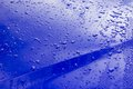 Car bonnet raindrops on a blue Stock Photography