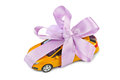 Car with bow as gift Royalty Free Stock Photo